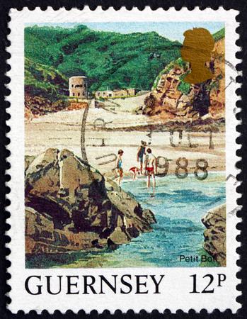 GUERNSEY - CIRCA 1988: a stamp printed in the Guernsey shows Petit Bot Beach, Landscape, circa 1988