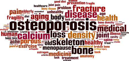 spongy: Osteoporosis word cloud concept. Vector illustration Illustration