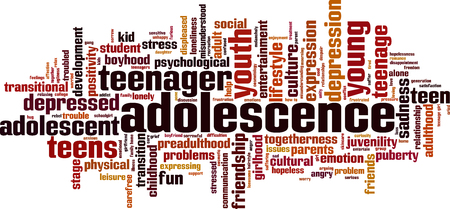 Adolescence word cloud concept. Vector illustration