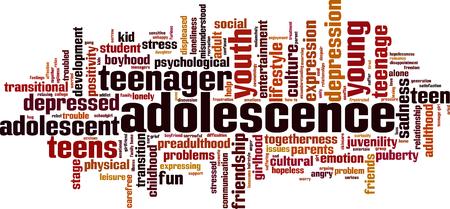 Adolescence word cloud concept. Vector illustration Reklamní fotografie - 74270905