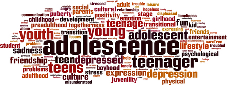 transitional: Adolescence word cloud concept. Vector illustration