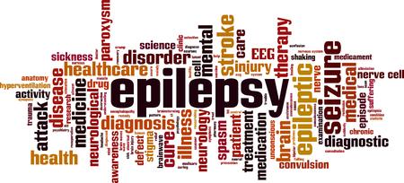 convulsión: Epilepsy word cloud concept. Vector illustration