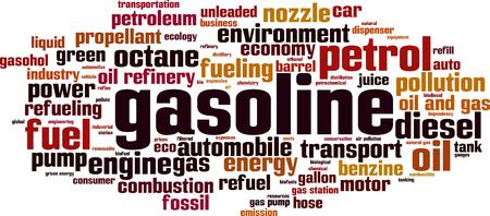 propellant: Gasoline word cloud concept. Vector illustration. Illustration