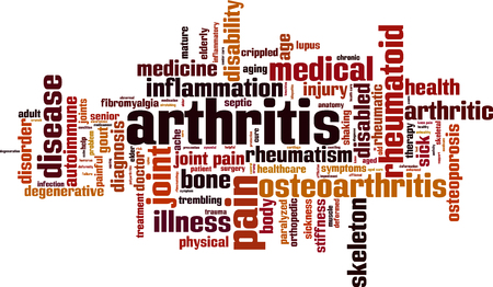 Arthritis word cloud concept. Vector illustration