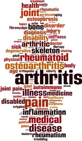 Arthritis word cloud concept. Vector illustration