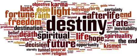 doomed: Destiny word cloud concept. Vector illustration Illustration
