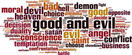 antagonistic: Good and evil word cloud concept. Vector illustration