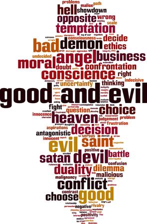 善と悪の単語の雲の概念。ベクトル図