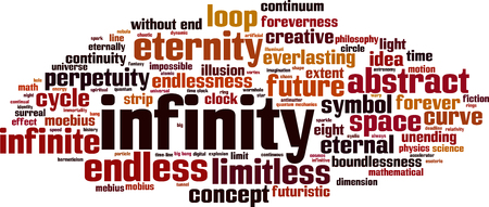 everlasting: Infinity word cloud concept. Illustration
