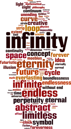 everlasting: Infinity word cloud concept. Vector illustration