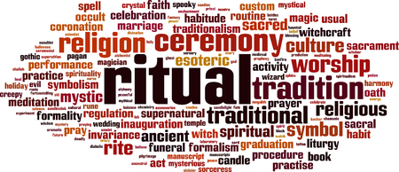 Ritual word cloud concept. Vector illustration