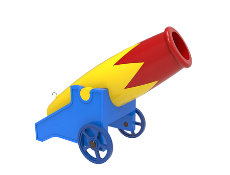 Colorful cannon, 3D rendering, on the white background