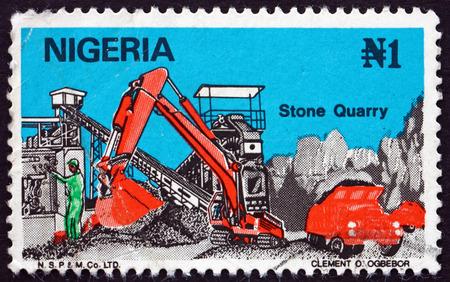 NIGERIA - CIRCA 1986: a stamp printed in Nigeria shows Stone Quarry, circa 1986
