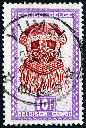 perforated: BELGIAN CONGO - CIRCA 1948: a stamp printed in Belgian Congo shows Buadi-Muadi, mask with Squared Features, Baluba tribe, circa 1948