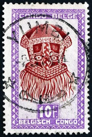 BELGIAN CONGO - CIRCA 1948: a stamp printed in Belgian Congo shows Buadi-Muadi, mask with Squared Features, Baluba tribe, circa 1948