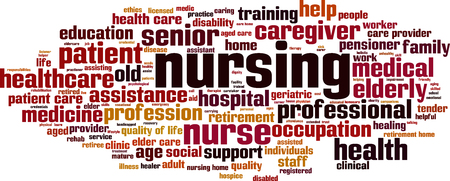 Nursing word cloud concept. Vector illustration