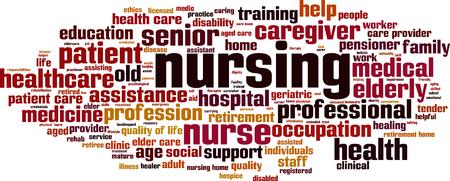 Koncepcja cloud słowo pielęgniarstwa. Ilustracji wektorowych