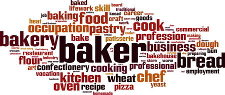baked goods: Baker word cloud concept. Vector illustration