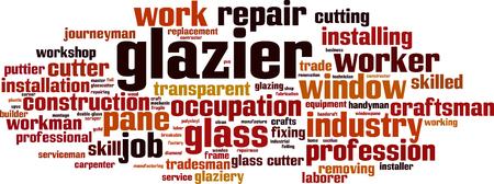 Glazier word cloud concept. Vector illustration