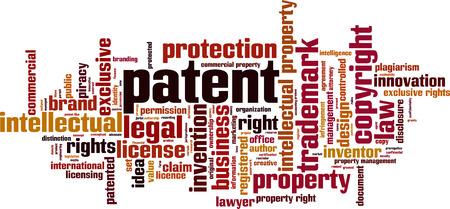 Concetto di nuvola di parola di brevetto. Illustrazione vettoriale Vettoriali