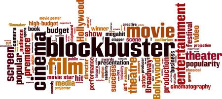 Blockbuster word cloud concept. Vector illustration Illustration