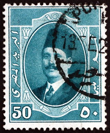 perforated: EGYPT - CIRCA 1923: a stamp printed in Egypt shows King Fuad, Portrait, circa 1923