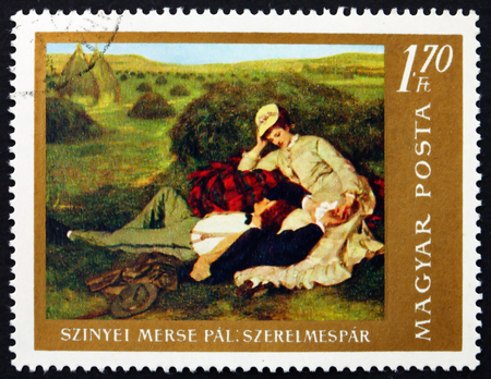 HUNGARY - CIRCA 1967: a stamp printed in Hungary shows The Lovers, Painting by Pal Szinyei Merse, Hungarian Painter, circa 1967