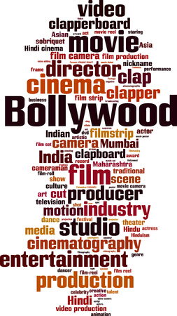 Bollywood word cloud concept. Vector illustration Illustration