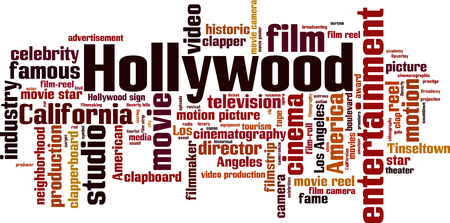 famous actress: Hollywood word cloud concept. Vector illustration