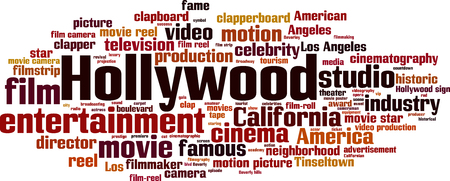 A Hollywood word cloud concept. Vector illustration Illustration