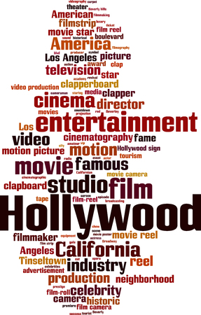 Hollywood word cloud concept. Vector illustration