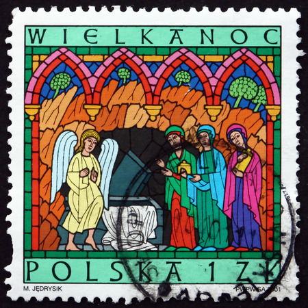 POLAND - CIRCA 2001: a stamp printed in Poland shows Women at Empty Tomb, Easter, circa 2001 Editorial