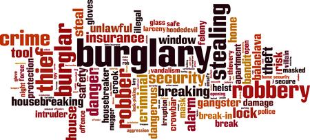 Burglary word cloud concept. Vector illustration Illustration