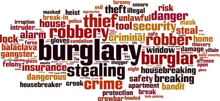 heist: Burglary word cloud concept. Vector illustration Illustration