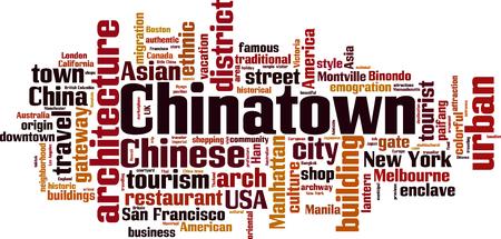Chinatown word cloud concept. Vector illustration Иллюстрация