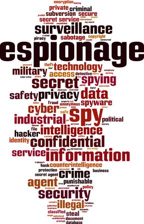 Espionage word cloud concept. Vector illustration Illustration