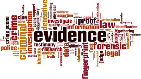 Evidence word cloud concept. Vector illustration 일러스트