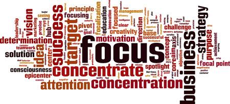 fixate: Focus word cloud concept. Vector illustration