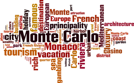 f1: Monte Carlo word cloud concept. Vector illustration Illustration