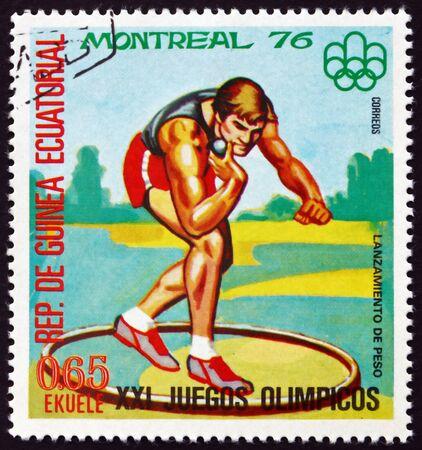 GUINEA ECUATORIAL - CIRCA 1978: un sello impreso en Guinea Ecuatorial muestra Shot Put, Juegos Olímpicos de verano 1976, Montreal, alrededor de 1978