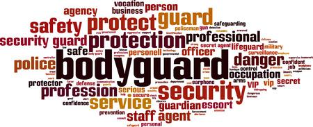 Bodyguard word cloud concept. Vector illustration