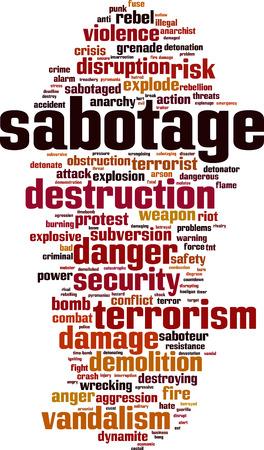 Sabotage word cloud concept. Vector illustration Illustration