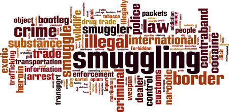 Smuggling word cloud concept. Vector illustration Çizim