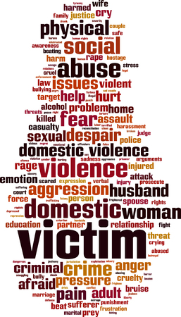 Victim word cloud concept. Vector illustration
