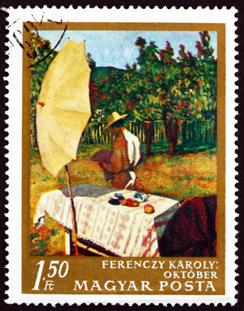 printmaker: HUNGARY - CIRCA 1967: a stamp printed in Hungary shows October, Painting by Karoly Ferenczy, Hungarian Painter, circa 1967