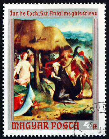 printmaker: HUNGARY - CIRCA 1970: a stamp printed in Hungary shows Temptation of St. Anthony the Hermit, Painting by Jan Claudius de Cock, Flemish Painter, circa 1970