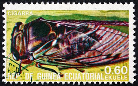 EQUATORIAL GUINEA - CIRCA 1978: a stamp printed in Equatorial Guinea shows Grasshopper, Insect, circa 1978 Editorial
