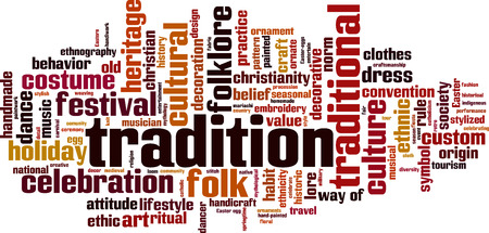 norm: Tradition word cloud concept. Vector illustration