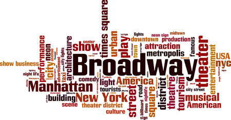 new york city times square: Broadway word cloud concept. Vector illustration