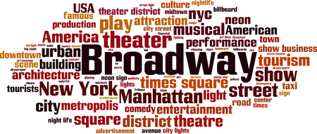 comedy: Broadway word cloud concept. Vector illustration